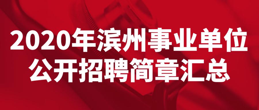 2020年滨州事业单位公开招聘简章汇总